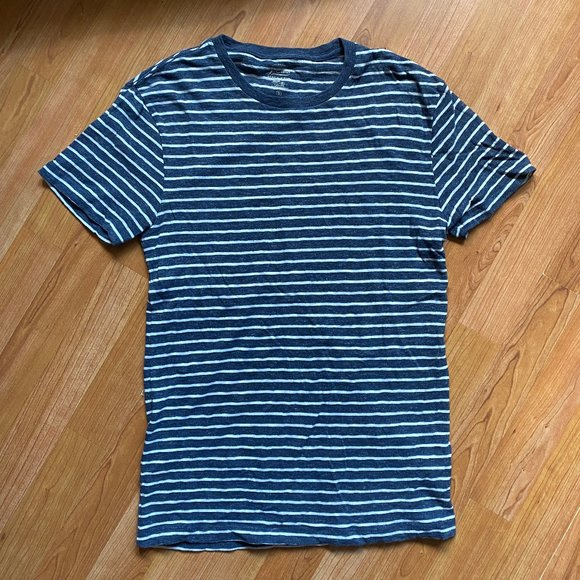 J.Crew Navy and White Striped Short Sleeve Shirt